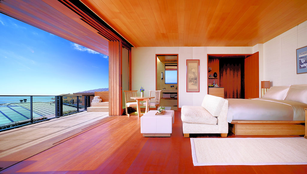 Nobu Ryokan, Malibu: ušlechtilé materiáy, daleké výhledy, vybraná společnost