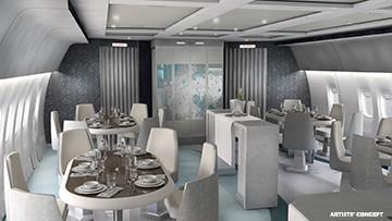 Boeing 777-200 LR, jídelní prostor v letadle