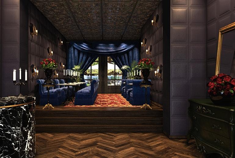 Interiéry Provocateuru stojí na těžkém a hebkém, rudém a modrém