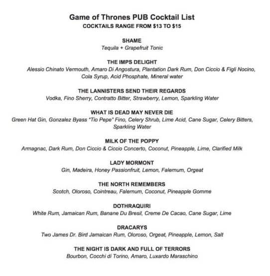 Washigton DC, Hra o trůny, koktejlové menu