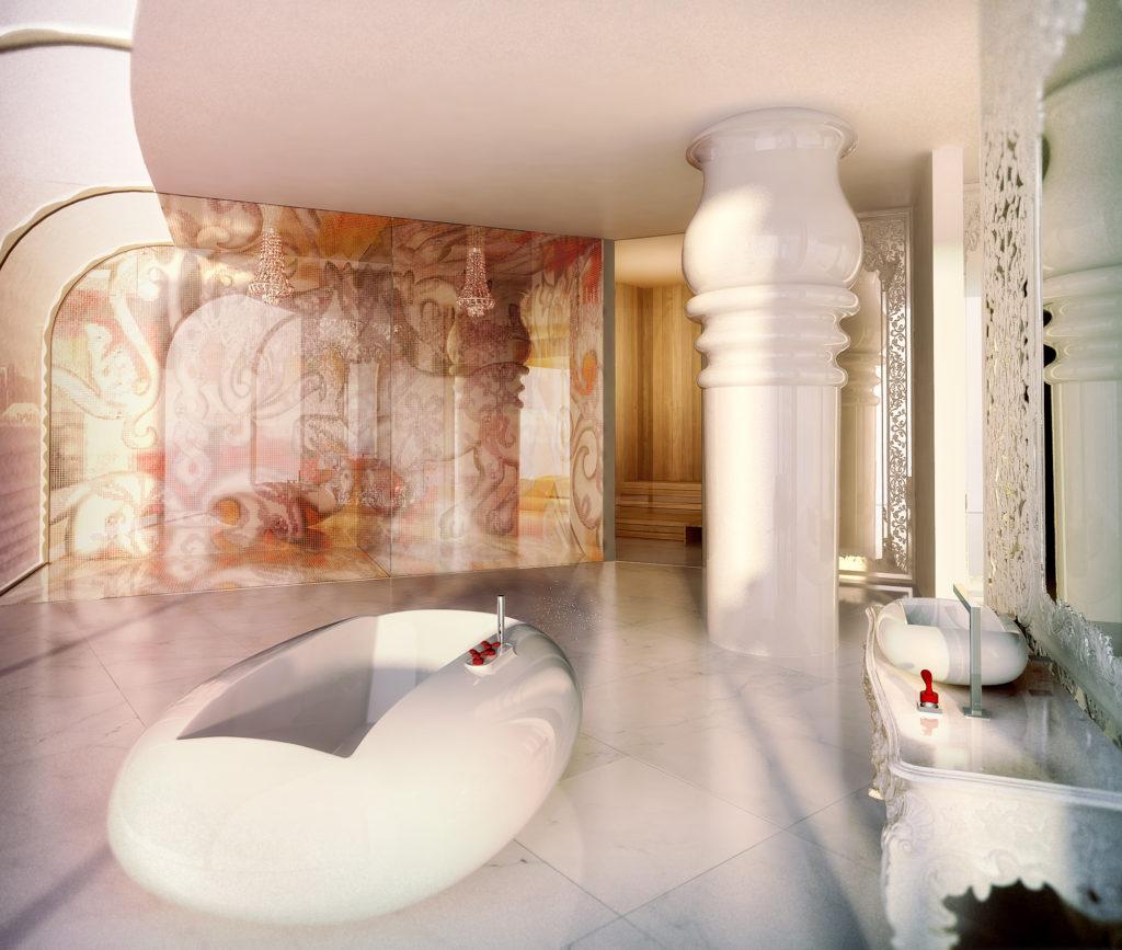 Mondrian, Dauhá: koupelna v novomanželském suitu