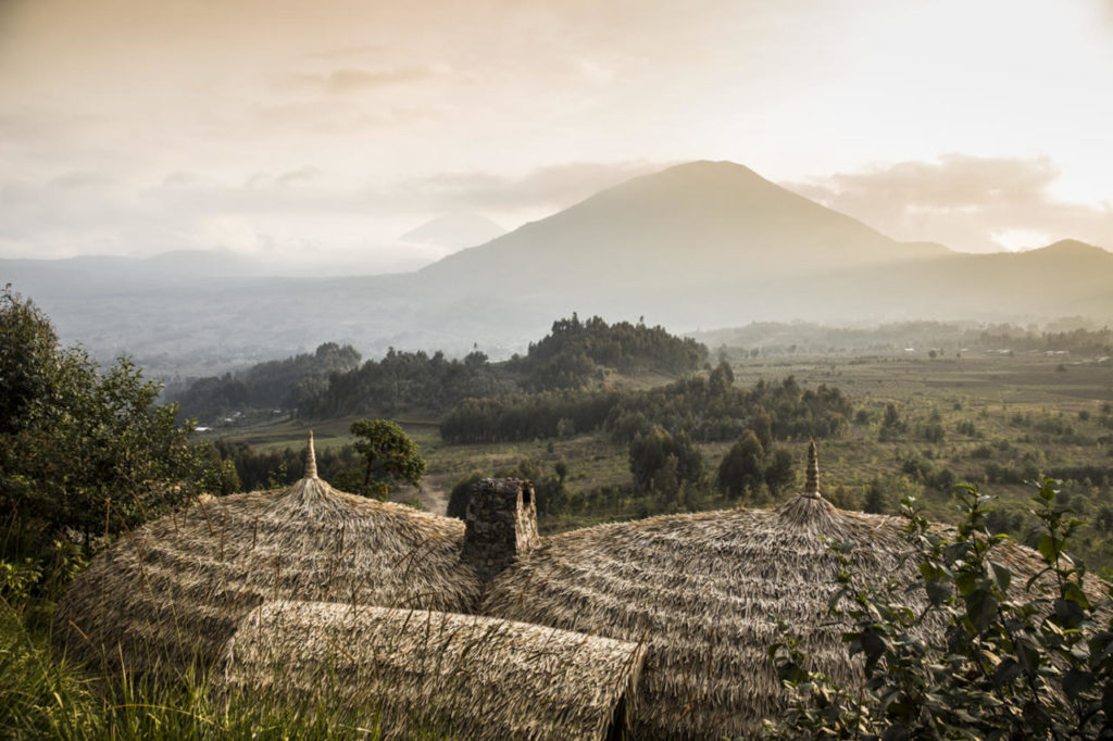 Bisate Lodge, Rwanda: výhled na sopečné pohoří