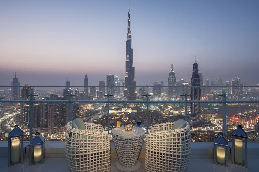 Damac Maison Royal The Distinction, Dubai: výhled z terasy suitu