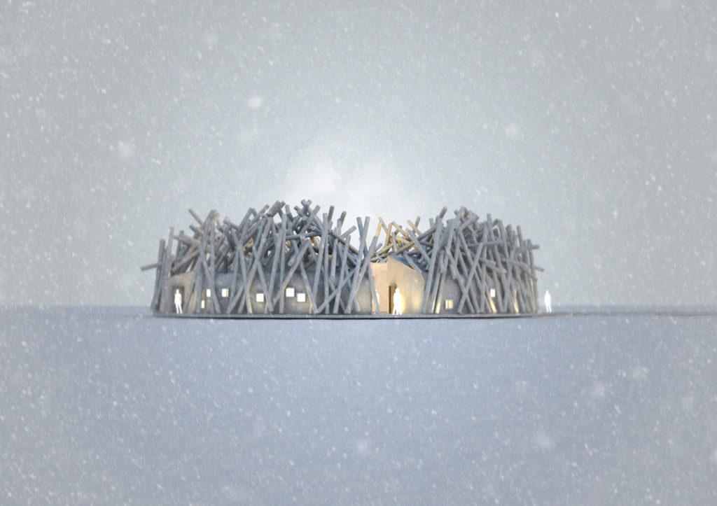 Arctic Bath, Harads, Švédsko: kruhová struktura inspirovaná plovoucími kmeny