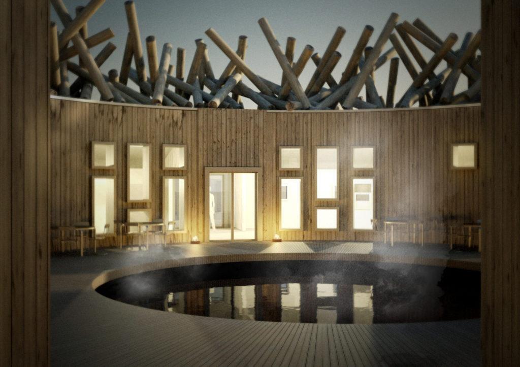 Arctic Bath, Harads, Švédsko: chráněný střed s koupáním