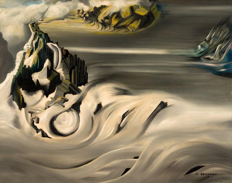 Oscar Dominguez, Kosmická krajina, 1938-1939, olej na plátně, 73,2x92 cm; foto: galerie Olivier Malingue