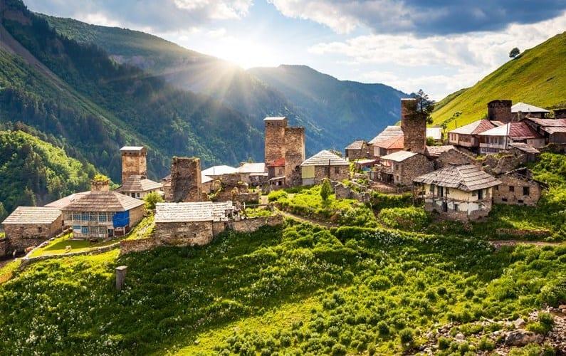 Horská vesnička ve Svanetii