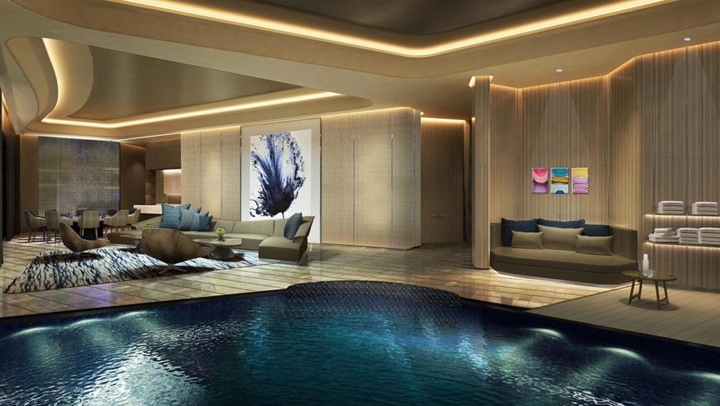 Morpheus, Macao: interier střešní vily s bazénem