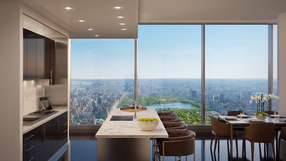 Central Park Tower, New York: výhled z kuchyně